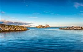 Aperçu fond d'écran Bleu, mer, îles, phare, ciel
