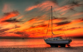 Boat, yacht, beach, sea, red sky, sunset