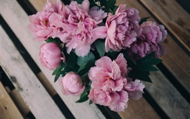 Bouquet peonies, pink flowers, bench