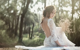 Preview wallpaper Bride back view, Asian girl, white skirt, flowers