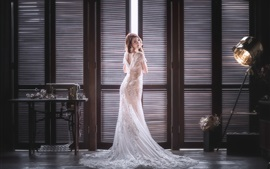 Preview wallpaper Bride look back, Asian girl, room, window