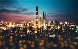 Preview wallpaper China, city, Shanghai, night, lights, blurry