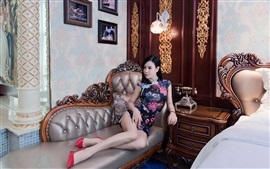 Chinese cheongsam girl, sofa, bed, retro style