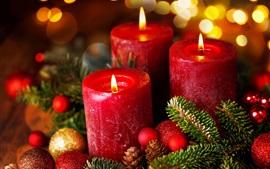 クリスマス、新年、ボール、赤キャンドル、炎