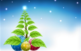 Preview wallpaper Christmas tree, green leaves, balls, snow, winter, art picture