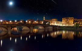 Preview wallpaper City, night, bridge, river, houses, lights, stars