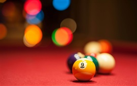 Colorful billiards, blurry background