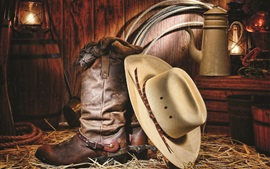 Preview wallpaper Cowboy shoes and hat