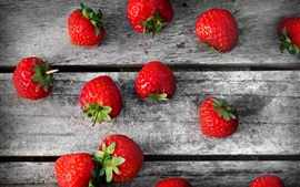 Preview wallpaper Delicious strawberries, wooden board