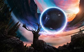 Preview wallpaper Desktopography creative design, deer, planet, universe
