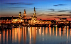 Dresden at night, bridge, houses, river, lights, Germany