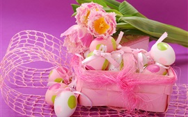 Preview wallpaper Easter eggs, pink tulips, spring, ribbon