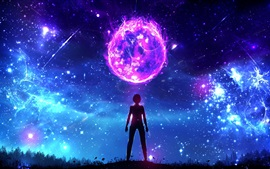 Preview wallpaper Fantasy art, planet, boy, night, magic