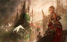 Preview wallpaper Fantasy girl, wings, ears, elf, birds, castle, art picture