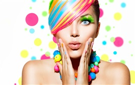 Preview wallpaper Fashion girl, colorful hair, makeup