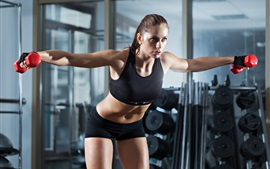 Preview wallpaper Fitness girl, sportswear, dumbbells, gym