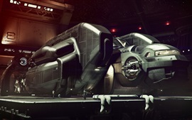 Preview wallpaper Future fantasy picture, spaceship, hangar