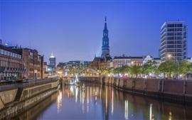 Alemanha, Hamburgo, ponte, Rio, luzes, edifícios