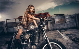 Preview wallpaper Girl, motorcycle, gun