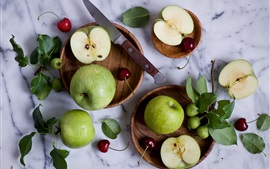 Preview wallpaper Green apples, cherries, knife, water drops, still life