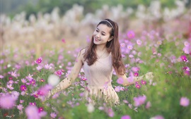 Preview wallpaper Happy Asian girl, wildflowers