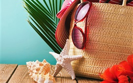Hat, glasses, seashells, starfish, basket, summer