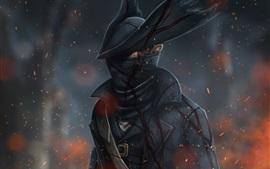 Caçador, chapéu, sangue, imagem de arte