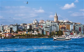 Preview wallpaper Istanbul, Turkey, beautiful city, river, boats, houses