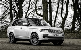 Preview wallpaper Land Rover Range Rover SUV car, trees