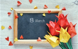 Preview wallpaper March 8, Women's Day, paper tulips