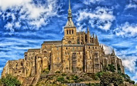 Mont-Saint-Michel, France, Normandy, castle, tower, clouds
