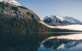 Горы, озеро, отражение воды
