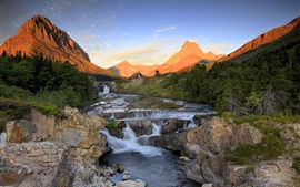 Mountains, rocks, river, creek, forest, sunset