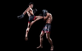 Preview wallpaper Muay thai, fight, sports, black background