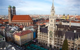 Preview wallpaper Munich, Germany, New Town Hall, Church, tower, city, buildings