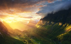 Norway, Alesund, mountains, valley, sunshine, sunrise, morning