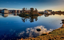 Preview wallpaper Norway, Haugesund, trees, lake, houses