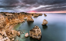 Preview wallpaper Portugal, Algarve, sea, ocean, rocks, sunrise, clouds, dawn