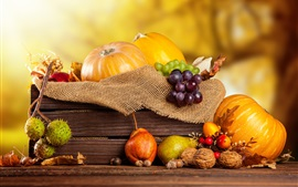 Preview wallpaper Pumpkin, chestnuts, grapes, pear, nuts, box