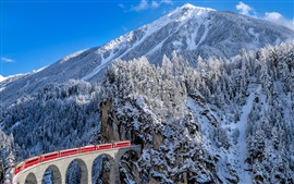 Preview wallpaper Railroad, train, viaduct, mountains, winter, snow, Alps, Switzerland