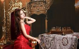 Preview wallpaper Red dress Asian girl, chair, chess