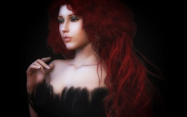 Red hair girl, curls, fantasy, black background