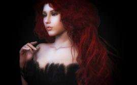 Pelo rojo chica, rizos, fantasía, fondo negro