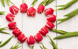 Preview wallpaper Red tulips, love heart