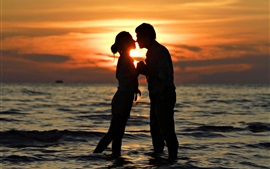 Romantic time, lovers, kiss, sea, sunset
