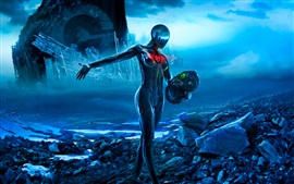 Preview wallpaper Romantically Apocalyptic, Sci-Fi, girl, helmet, art picture
