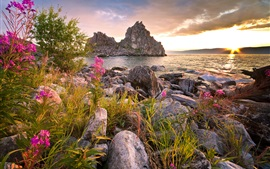 Preview wallpaper Russia, Baikal, lake, stones, mountains, flowers, clouds, sunset