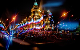 Preview wallpaper Russia, Moscow, beautiful city night, lights, movement