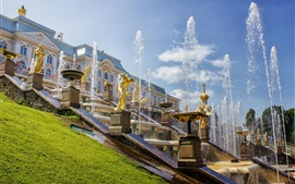 Preview wallpaper Russia, Saint Petersburg, Peterhof Palace, fountains, summer
