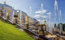 Rússia, São Petersburgo, Peterhof Palace, fontes, verão